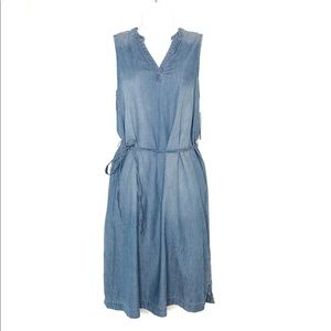 NWT. SONOMA chambray dress with tie waist.